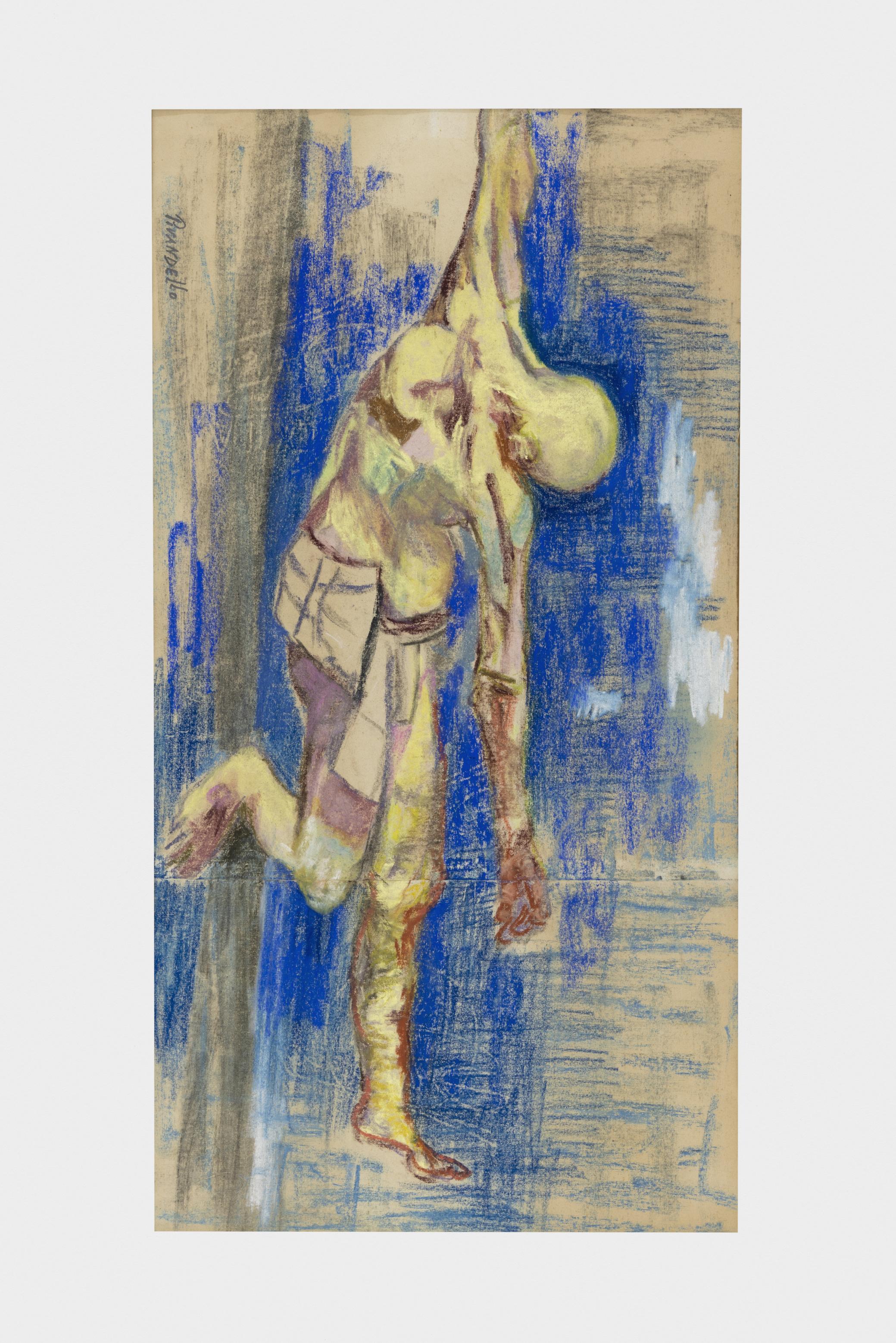 Fausto Pirandello, Ladrone crocifisso, 1964, pastelli su carta