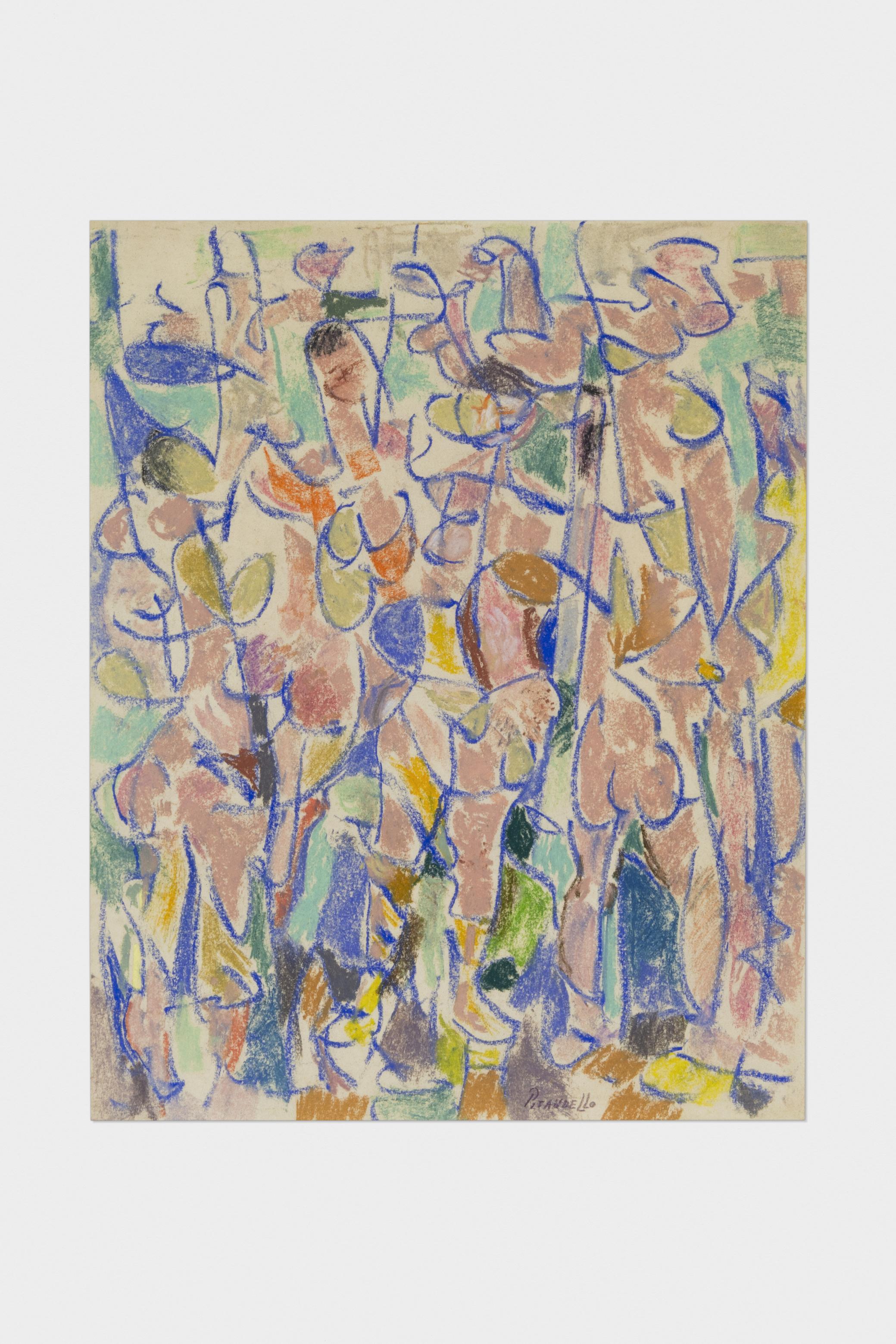 Fausto Pirandello, Bagnanti, 1957 circa, pastelli su carta