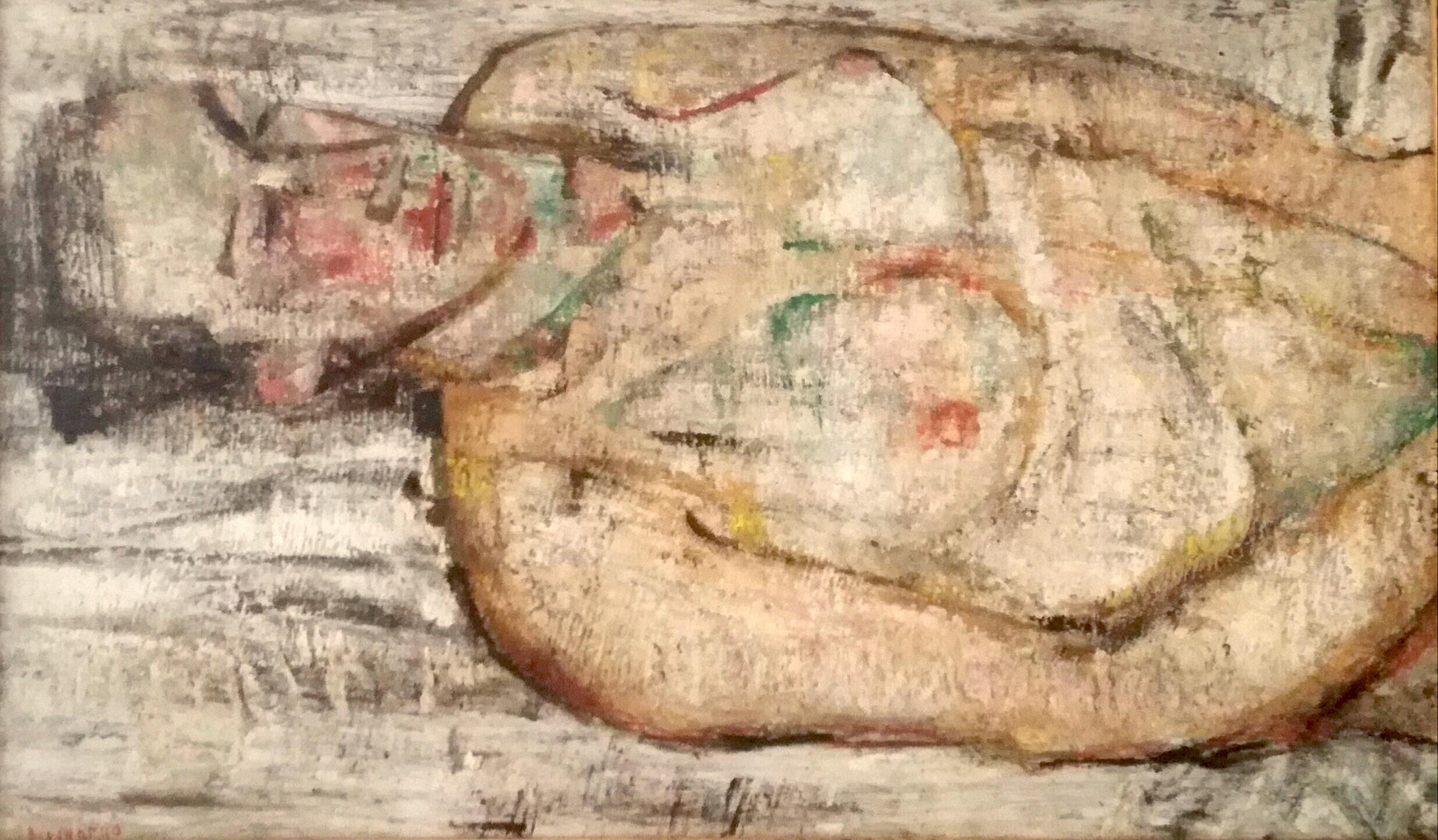 Fausto Pirandello, Nudo di donna, 1955 circa, olio su tavola