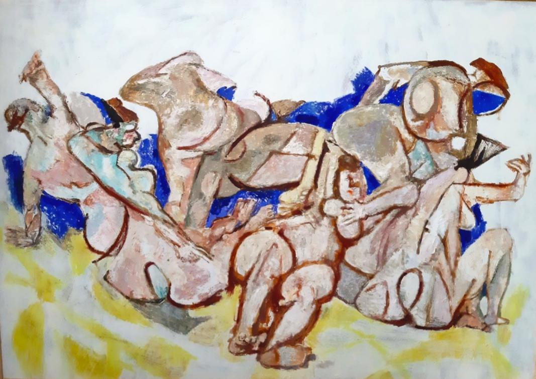 Fausto Pirandello, Forme sul mare, 1948 circa, olio su cartone