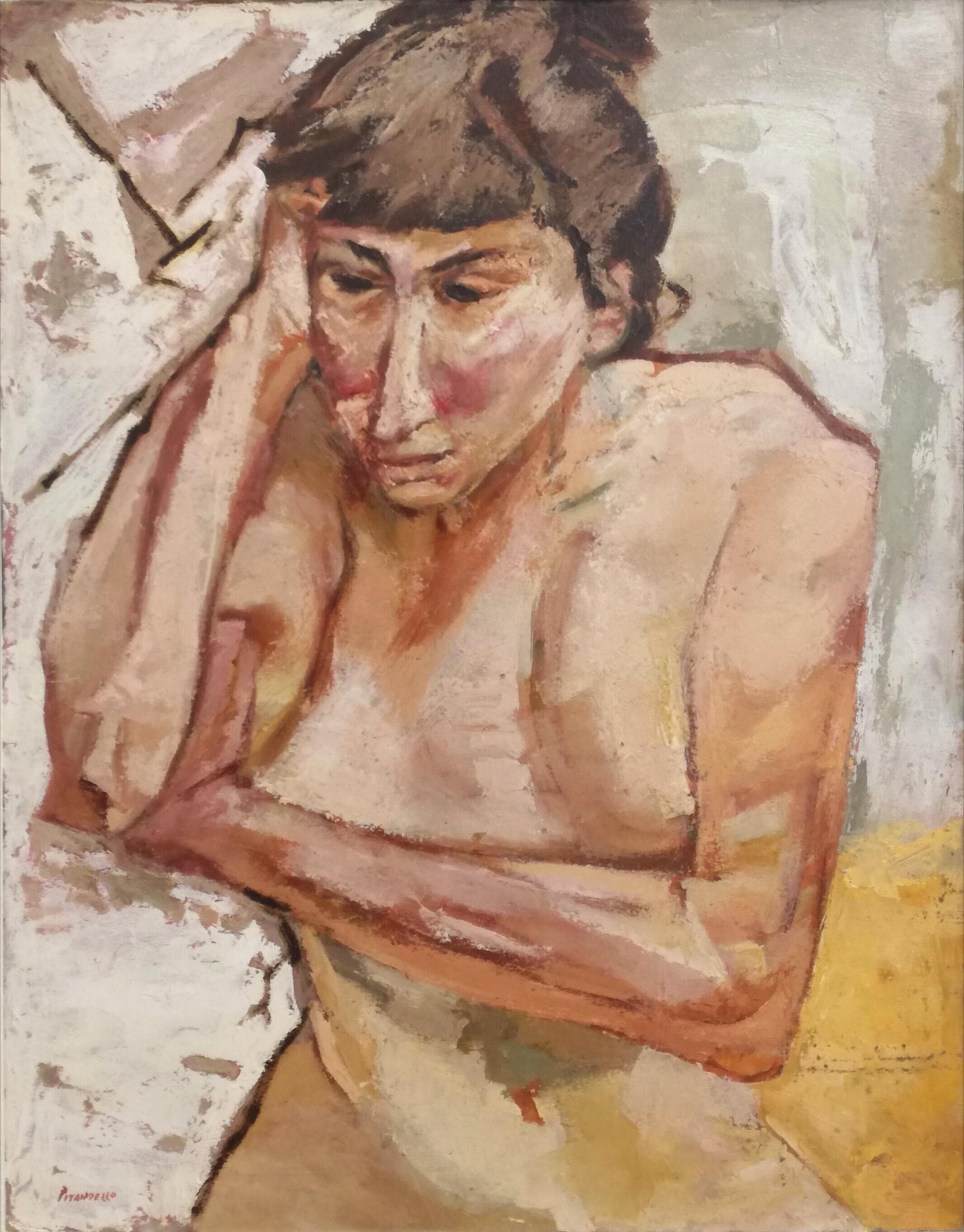 Fausto Pirandello, Donna pensosa, 1952 circa, olio su cartone