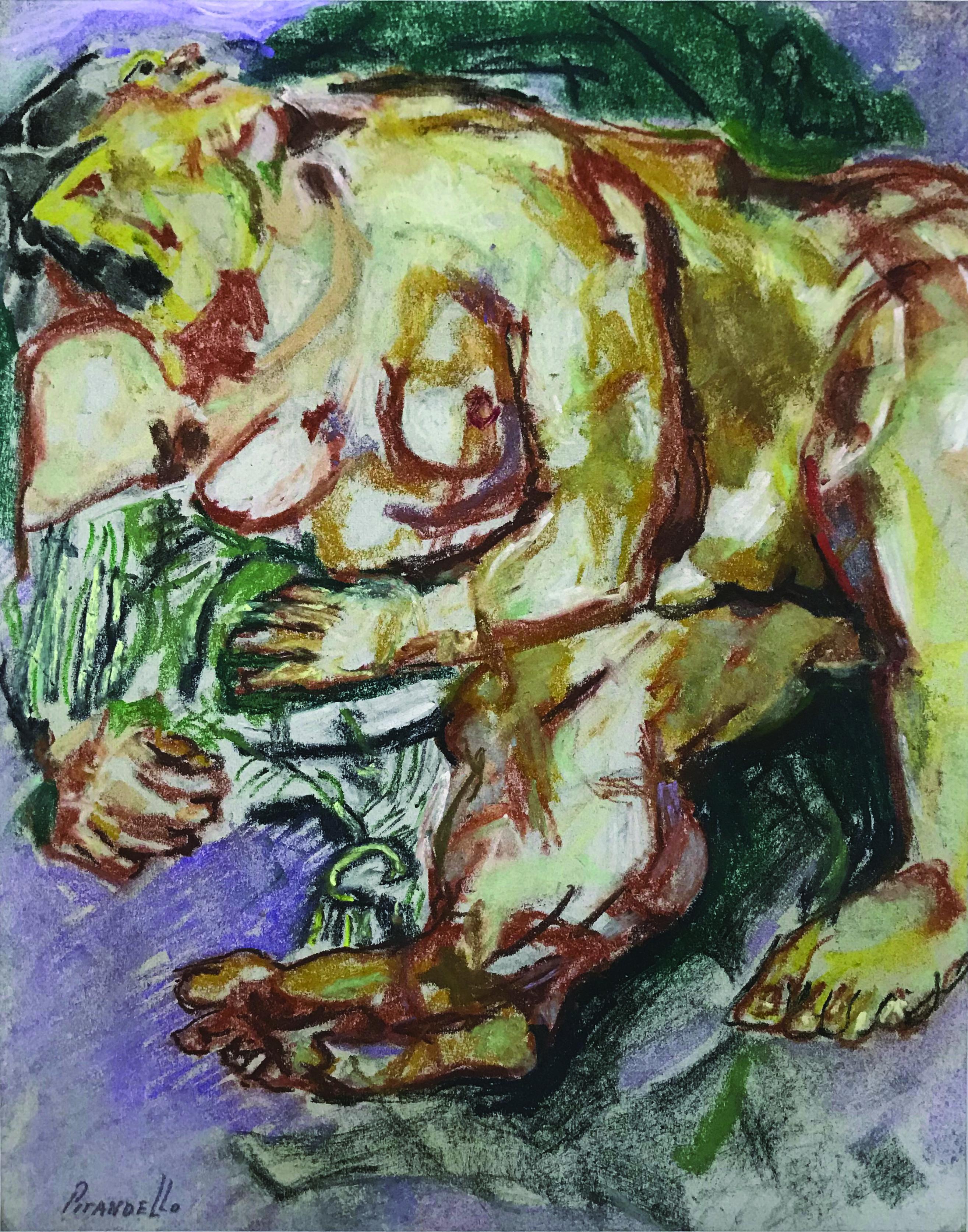 Fausto Pirandello, Nudo, 1965 circa, pastelli su carta
