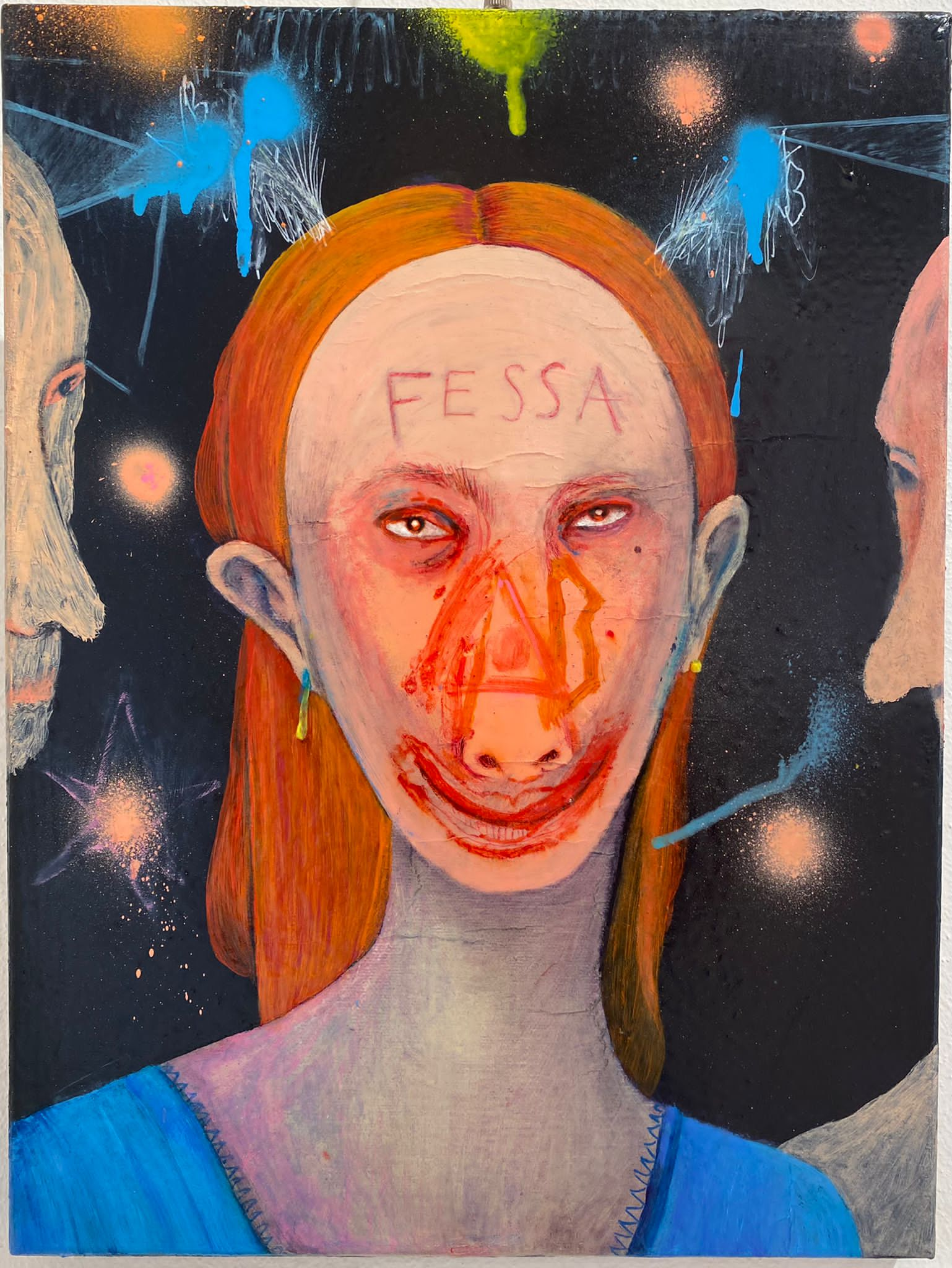 Silvia Mei, Fessa in testa, 2019, acrilico e tecnica mista su tela, 30x40cm