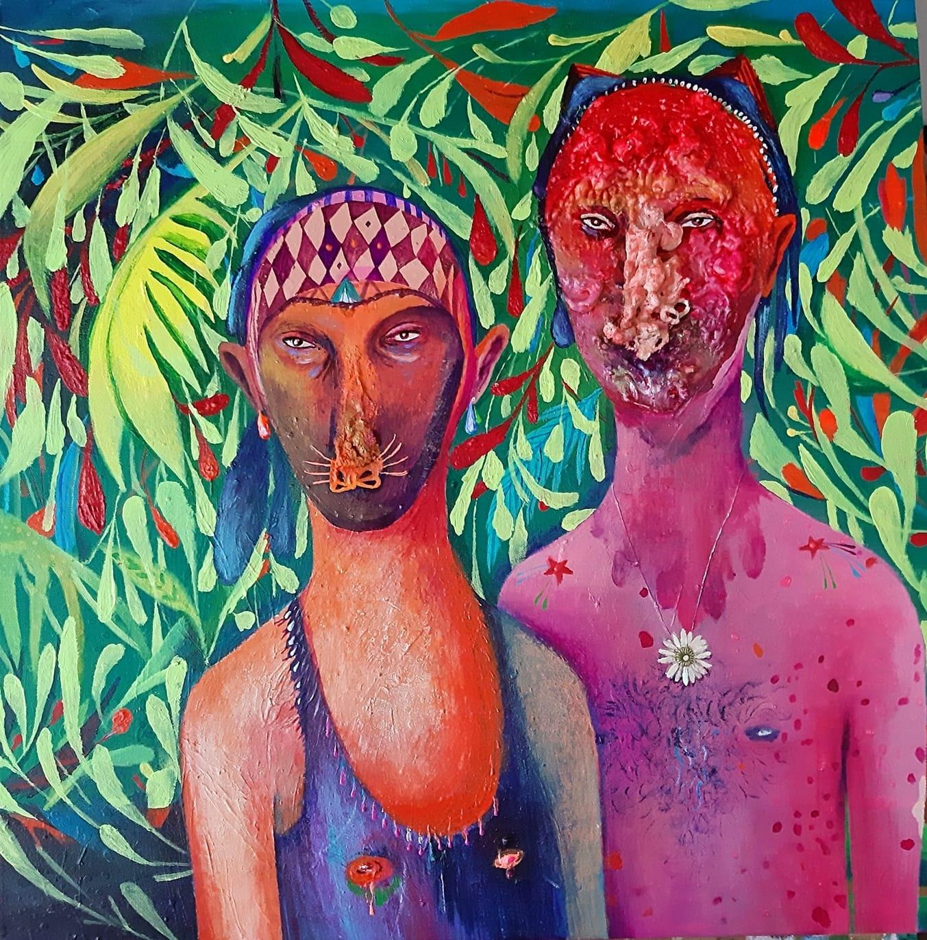 Silvia Mei, Il bosco è Federico, 2021, acrilico e tecnica mista su tela, 60x60cm