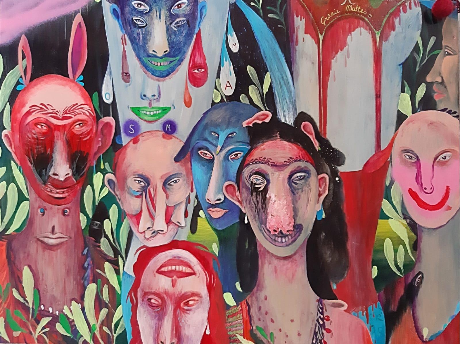 Silvia Mei, La menzogna, 2021, acrilico, collage di pon pon, spray e tecnica mista su tela, 80x60cm