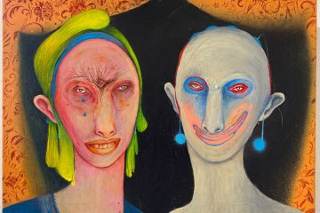 Silvia Mei, Mondo sipario, 2019, acrilico, spray e tecnica mista su tela, 50x40cm