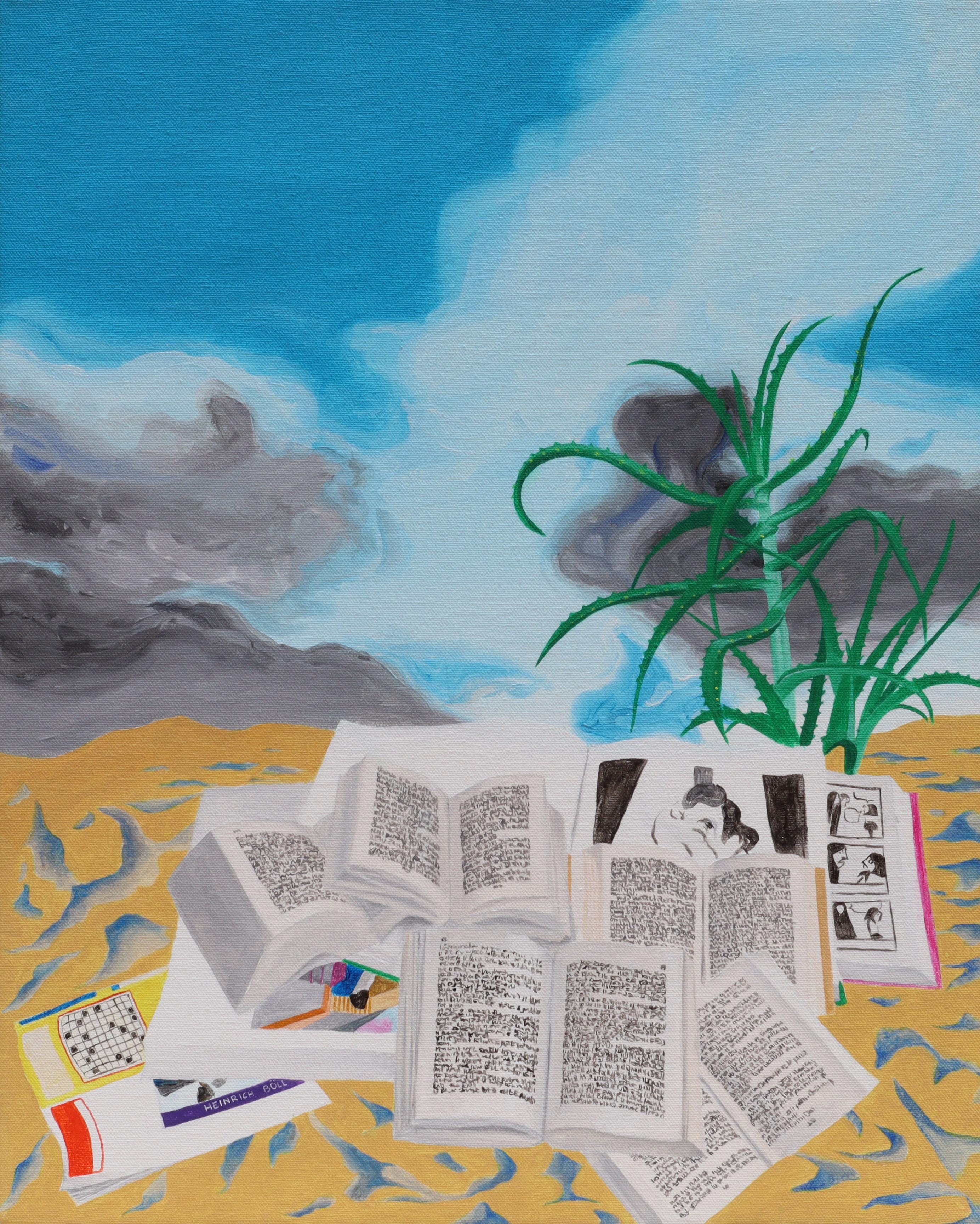 Irene Balia, Pomeriggio (natura morta con libri), 2021, acrilico su tela, 40x50cm
