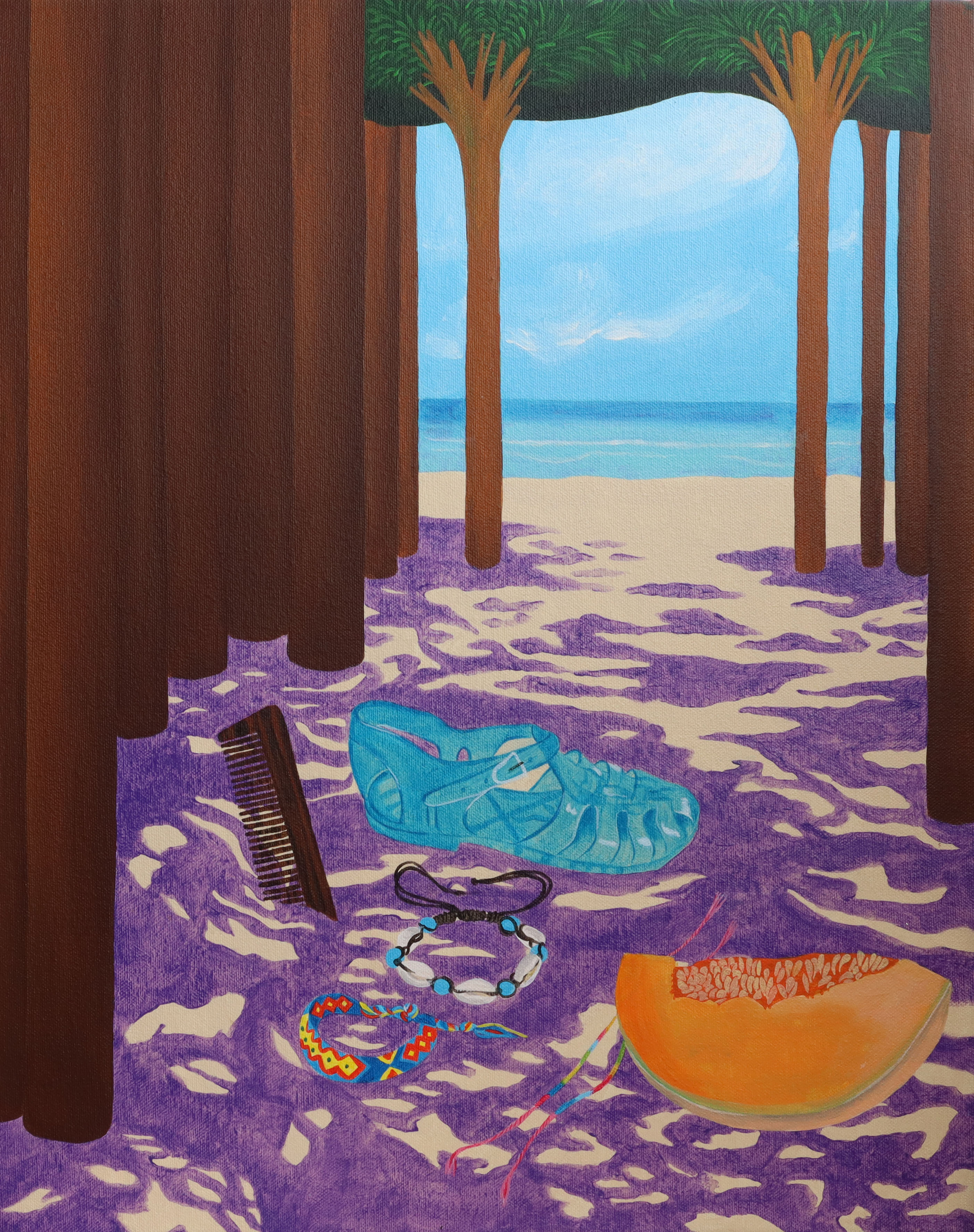 Irene Balia, Una spiaggia solitaria, 2021, acrilico su tela, 40x50cm